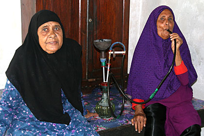 Seniors enjoying a smoke part of Maldives culture
