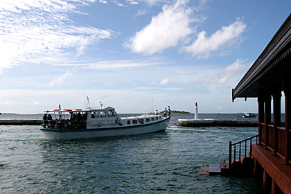 A Sea Ferry Leaving Male' Maldives