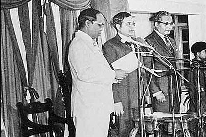 President Maumoon Abdul Gayoom takes the oath of office on 11 November 1978. He is currently serving his fifth term of office.